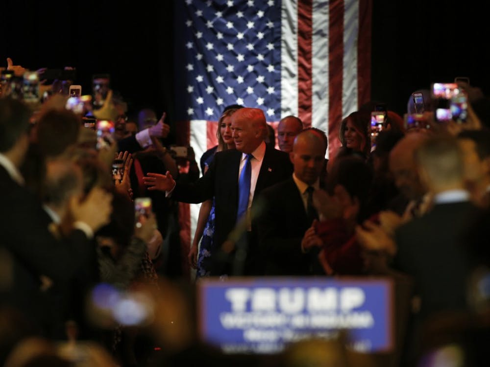 Republican presidential candidate Donald Trump addresses the media and a few supporters after winning the Indiana primary, on Tuesday, May 3, 2016, in New York. (Carolyn Cole/Los Angeles Times/TNS)
