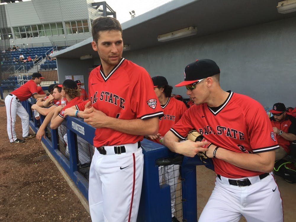 <p>Senior outfielders Jeff Riedel and Colin Brockhouse prepare for a game in the dugout at Maestri Field in New Orleans. Ball State baseball went 1-2 on the weekend in the Allstate Sugar Bowl Baseball Classic Feb. 23-24. <strong>Josh Shelton, DN</strong></p>