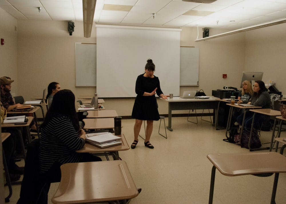 """<p>Darolyn """"Lyn"""" Jones instructs the immersive-learning English class, titled Creative Writing in the Community. <strong>Sara Barker, DN</strong></p>"""