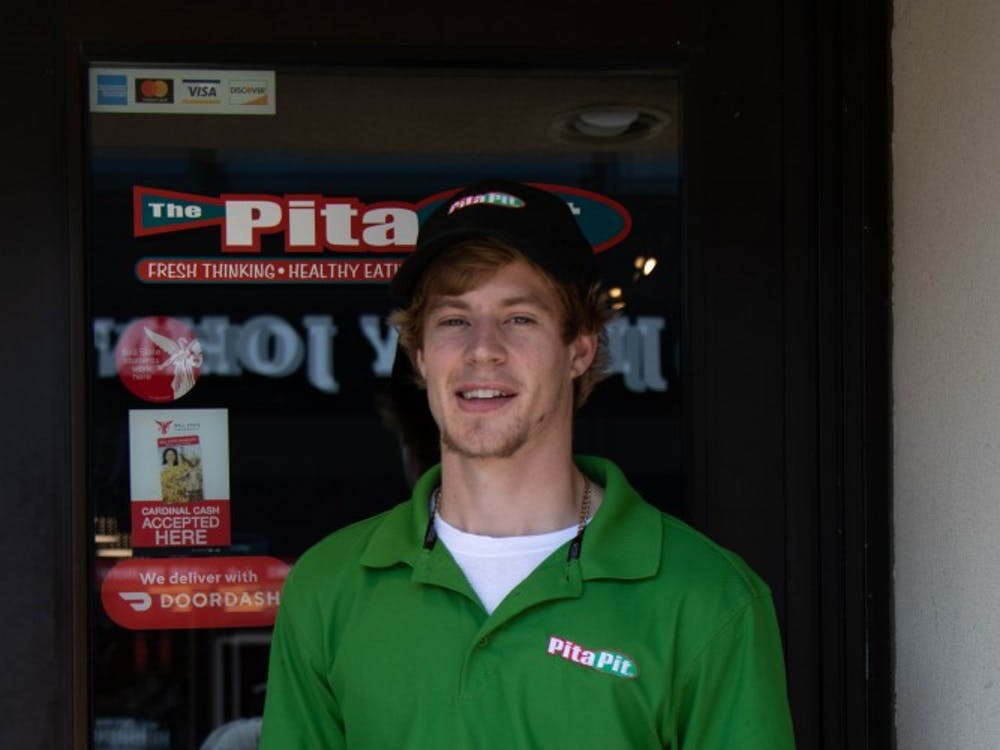 Pita Pit owner, Dain Peters, stands in front of his new restaurant in The Village, Sept. 9, 2019. Peters owns multiple Pita Pits around the Midwest. Jacob Musselman, DN