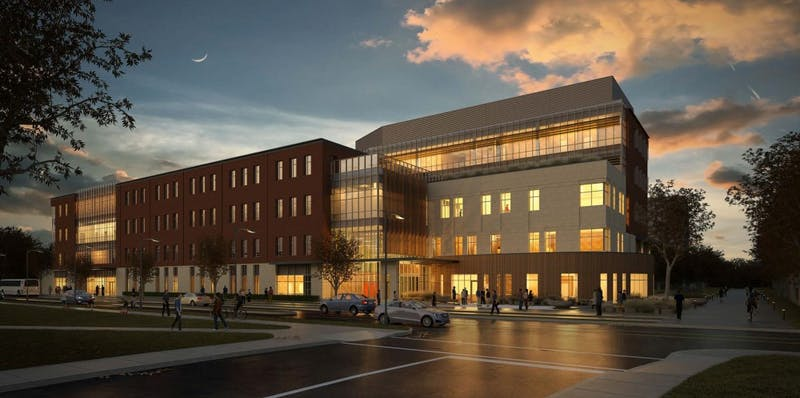 Shown above is a rendering of the new health professions building at night. The Board of Trustees announced the construction of the new health building on the corner of Riverside and Martin on Dec. 16. The 167,000 square-foot building will cost $62.5 million and will house the college of health, a clinic, spaces for classrooms, program spaces and an outdoor quad. Joan Todd // Photo Provided