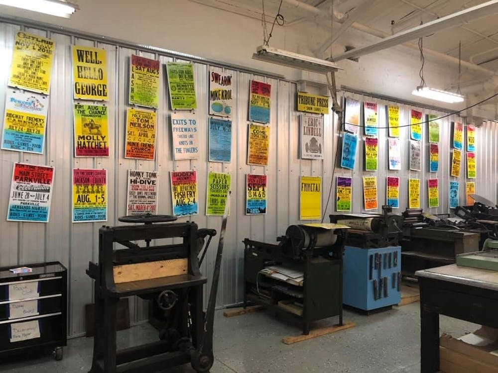 Posters from Tribune Showprint are displayed April 8, 2019, in Book Arts Collaborative. Additional posters will made to be sold at Interrobang, a regional Book Arts festival, Friday, April 12 and Saturday, April 13. Book Arts Collaborative, Photo Provided.
