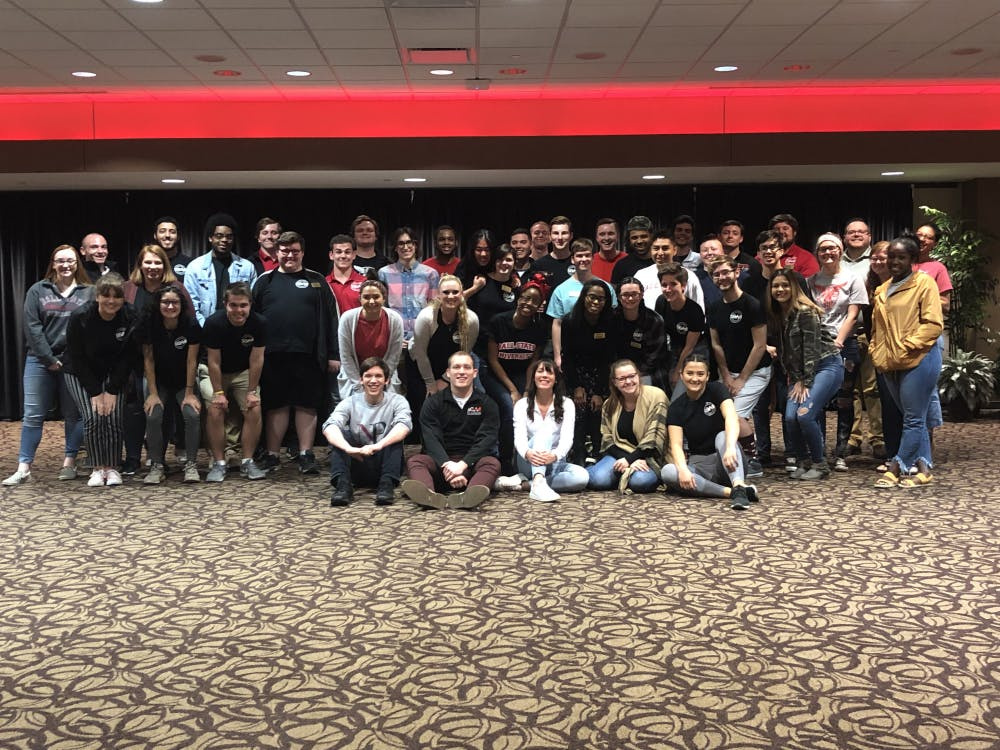 The entirety of the Student Government Association gather for a group photo, including the nominated members of Elevate. At the senate meeting April 19, 2019 in the L.A. Pittenger Student Center, Elevate ran a senate meeting for the first time. Charles Melton, DN