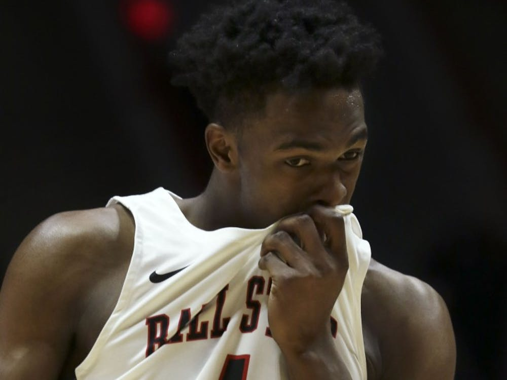 Ball State redshirt junior guard K.J. Walton wipes the sweat off his face while at the free throw line during the Cardinals' game against Miami University Jan. 22, 2019 in John E. Worthen Arena. Walton went 4 for 5 from the line. Paige Grider, DN