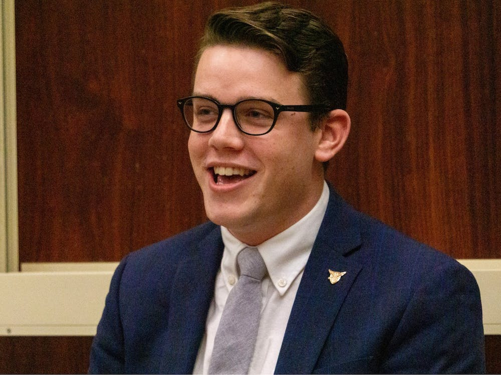 """SGA president Connor Sanburn introduces himself and his slate during the final SGA debate Feb. 20, 2020, at the Arts and Journalism Building. Sanburn presented his first """"State of the Senate"""" address Sept. 30, 2020 over Zoom. John Lynch, DN"""