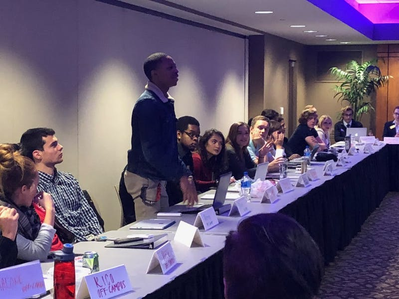 Senators in the Student Government Association voice their opinions during an Oct. 17 meeting at the L.A. Pittenger Student Center. Sara Barker, DN