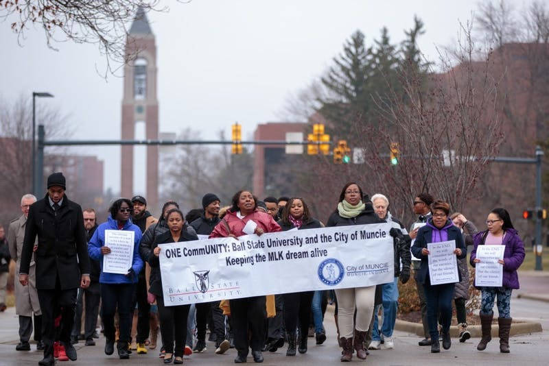 Ball State students and Muncie community members march on McKinley Avenue for the Unity March, Jan. 16, 2017. This year's Unity March on Monday was cancelled due to a wind chill advisory, but more events are scheduled for Unity Week. Kyle Crawford, DN