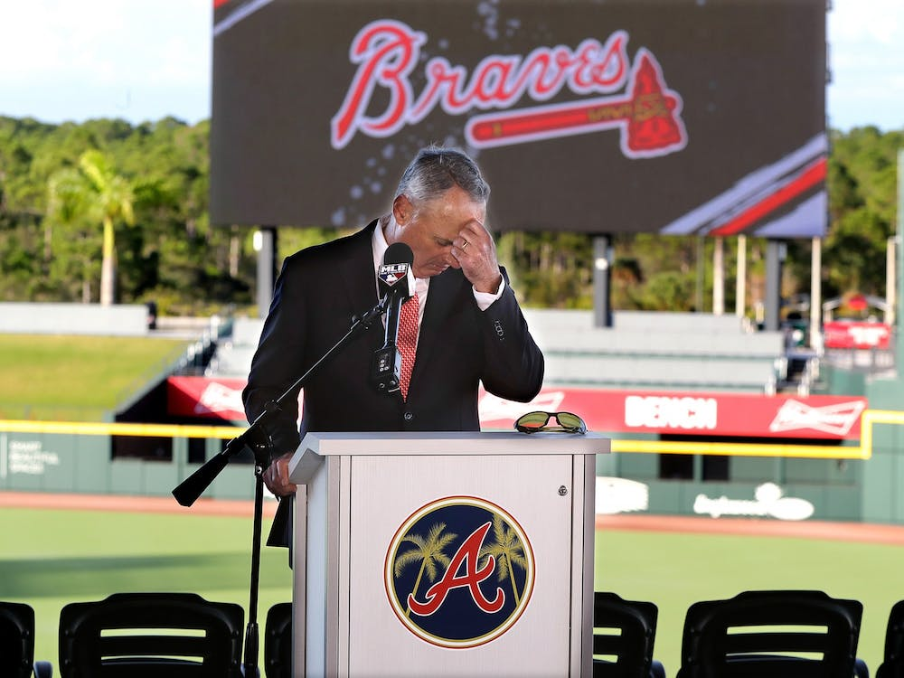 "Major League Baseball Commissioner Rob Manfred pauses before answering a question about the Houston Astros while holding his press conference during the ""Florida Governor's Dinner"" kicking off spring training at the Atlanta Braves CoolToday Park on Sunday, Feb. 16, 2020, in North Port, Fla. (Curtis Compton/Atlanta Journal-Constitution/TNS)"
