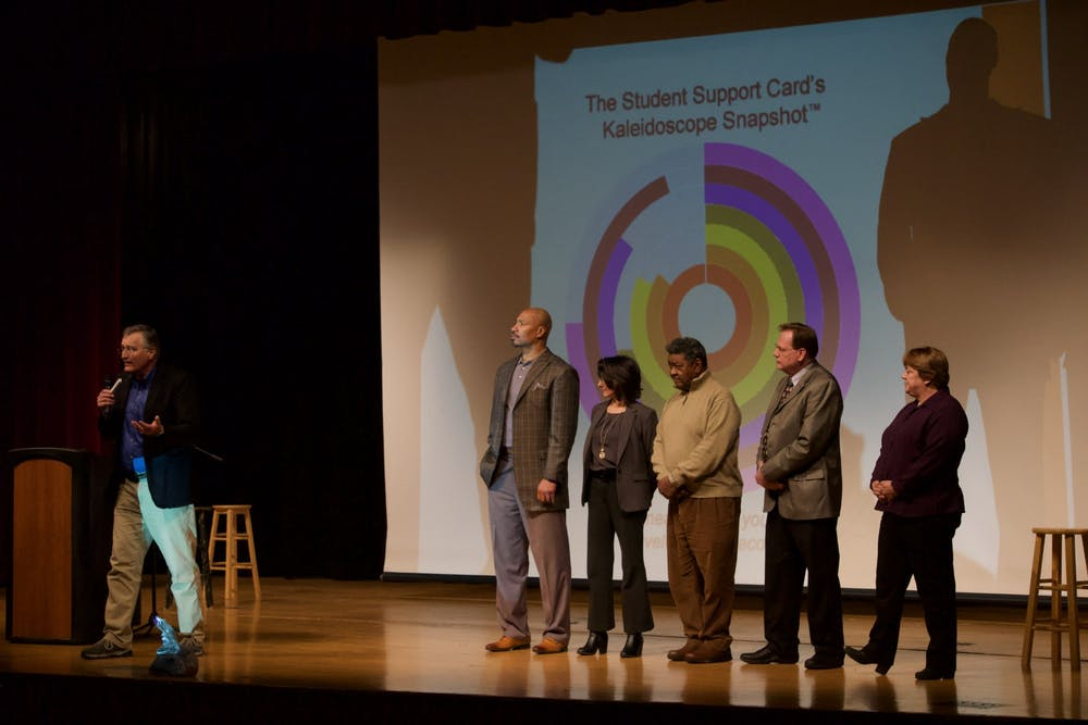 <p>Institute for Community and Adolescent Resiliency Founder Derek Peterson introduces the Web of Support initiative with members of the Muncie Action Plan board at the Muncie Community Schools meeting on Jan. 28, 2020, at Muncie Central High School. Peterson says implementing his program will have immediate positive effects on the community on a personal and social level. <strong>John Lynch, DN</strong></p>