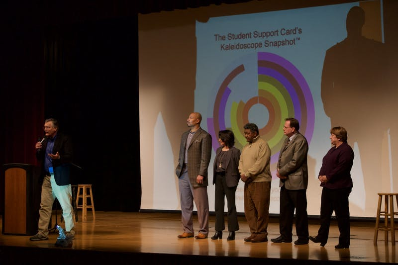 Institute for Community and Adolescent Resiliency Founder Derek Peterson introduces the Web of Support initiative with members of the Muncie Action Plan board at the Muncie Community Schools meeting on Jan. 28, 2020, at Muncie Central High School. Peterson says implementing his program will have immediate positive effects on the community on a personal and social level. John Lynch, DN