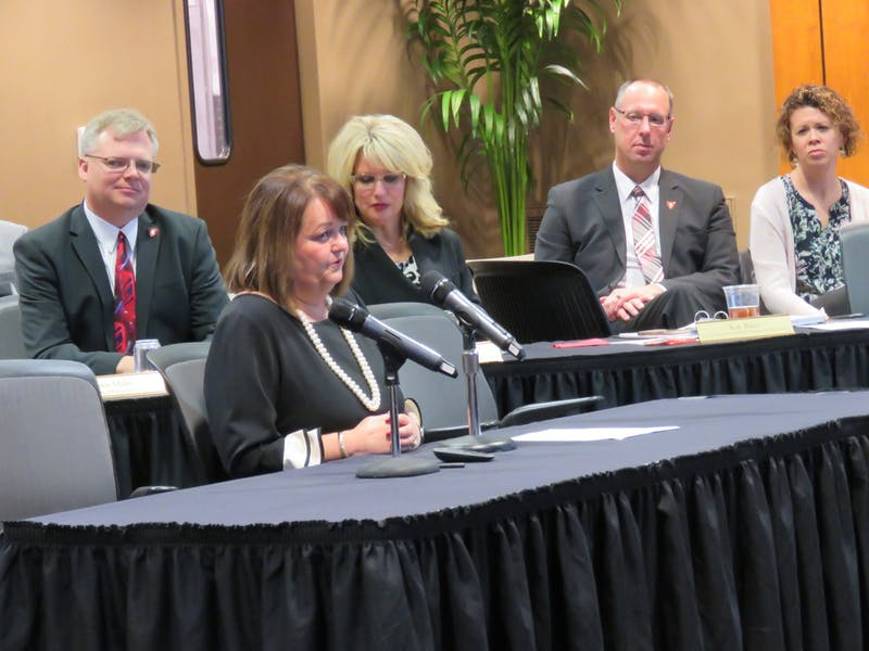Kay Bales, outgoing vice president for enrollment planning and management, speaks Dec. 13, 2019, at Ball State's Board of Trustees meeting in L.A. Pittenger Student Center. The board named a program after her — the Dr. Kay Bales Excellence in Leadership Program. Rohith Rao, DN