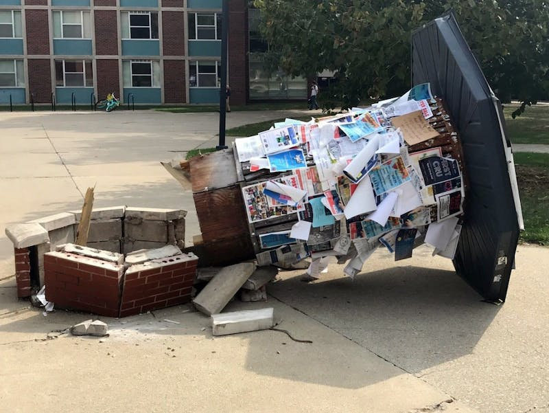 The kiosk between Bracken Library and the Noyer Complex is no longer present. It was knocked down by a delivery truck Sept. 27. Konnor Miller, Unified Media