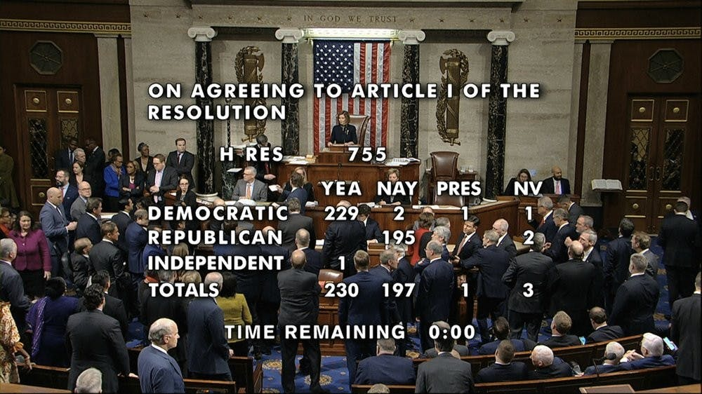 <p>The vote total showing the the passage of the first article of impeachment, abuse of power, against President Donald Trump by the House of Representatives at the Capitol in Washington, Wednesday, Dec. 18, 2019. <strong>(House Television via AP)</strong></p>