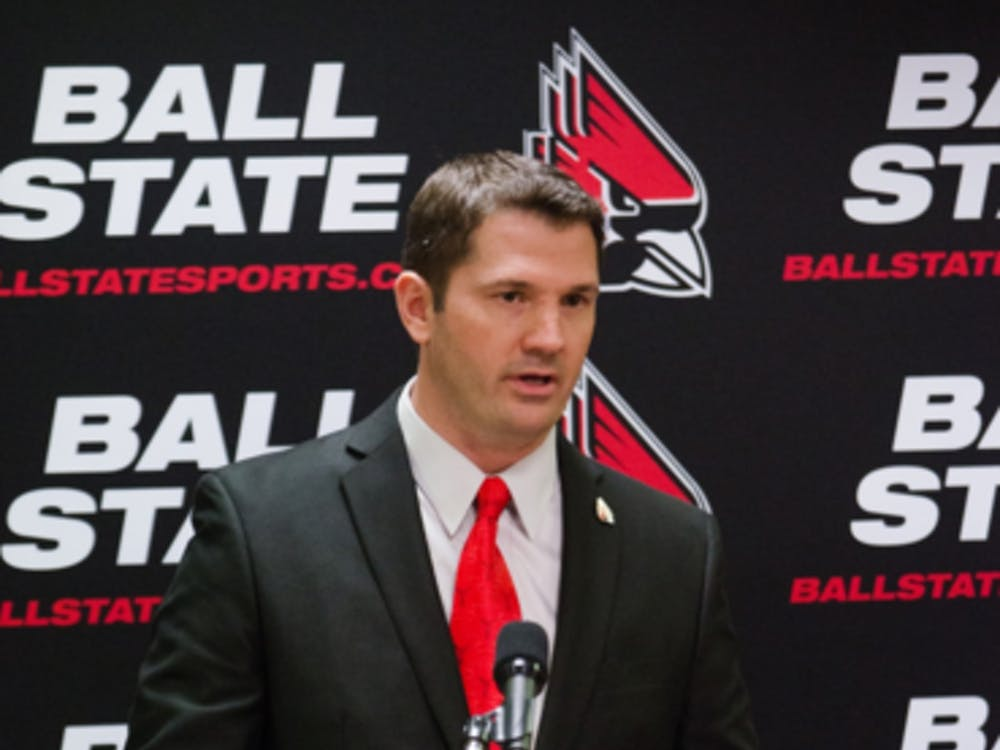 Ball State head coach Mike Neu speaks at his introductory press conference on Jan. 8. Neu's first recruiting class brought in 22 new players. Breanna Daugherty // DN File