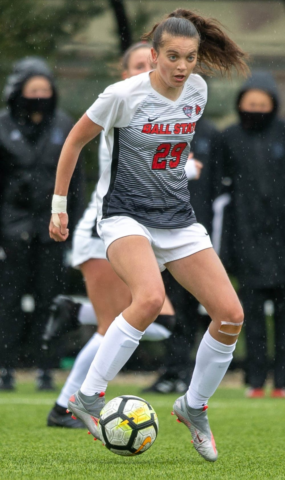 Redshirt junior midfielder Nicky Potts kicks the ball April 11, 2021, at Briner Sports Complex. The Cardinals beat the Eagles 2-1 to become the Mid-American Conference West Division champions. Jaden Whiteman, DN