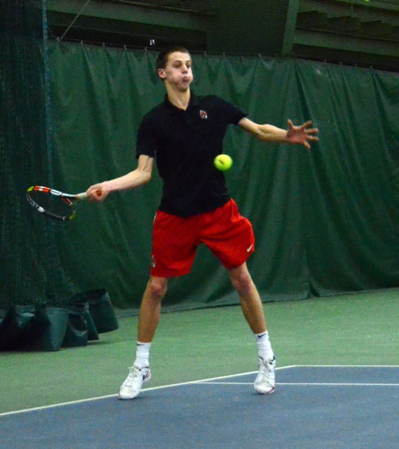Ball State men's tennis competed against IU Southeast in a double header at the Northwest YMCA in Muncie, Indiana Feb. 3. The Cardinals won both matches 7-0.