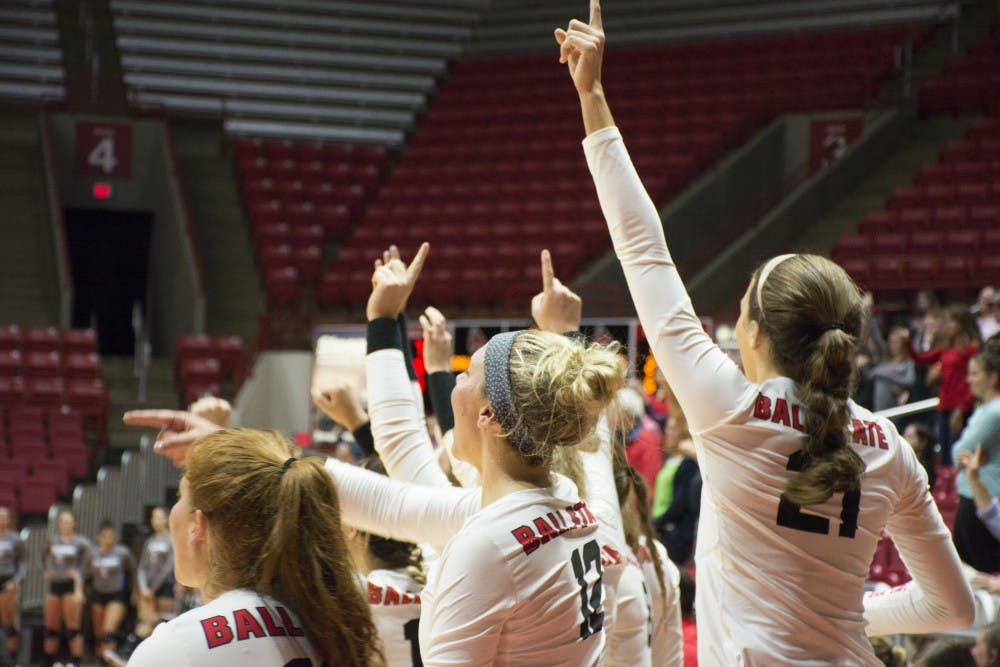 Ball State women'ss volleyball bench celebrates after scoring a set point on Sept. 2 at Worthen Arena. Ball Sttaae went on to win the game and improve to 5-1 on the season.