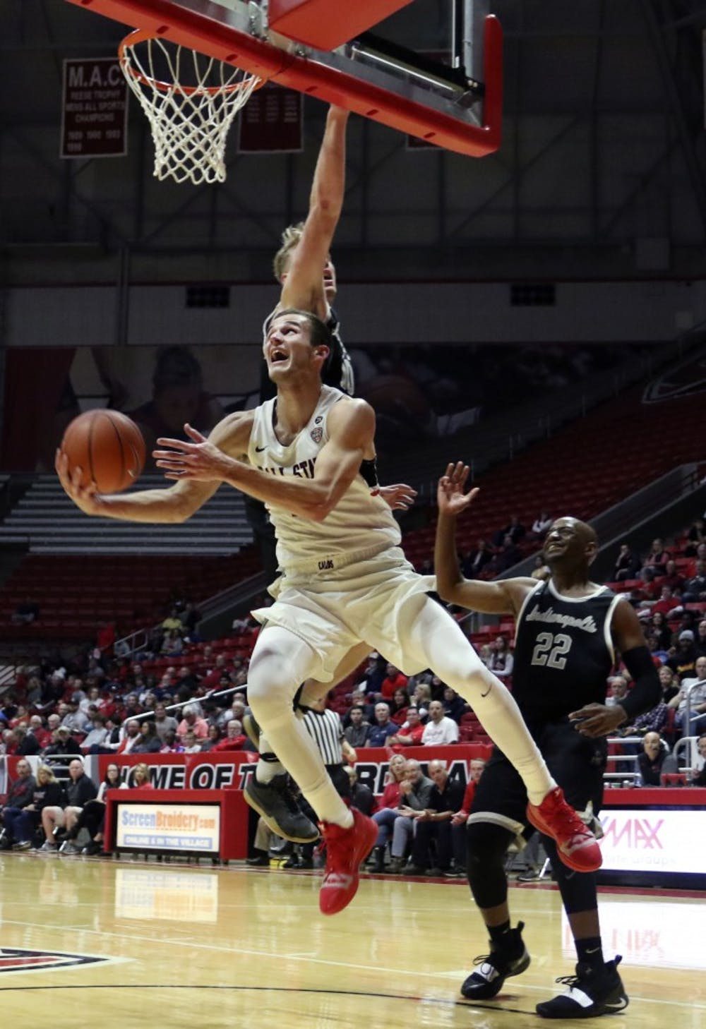 <p>Ball State junior forward Kyle Mallers shoots a layup during the Cardinals' exhibition game against University of Indianapolis Nov. 2, 2018, in John E. Worthen Arena. Mallers was the team's leading scorer with 25 points. <strong>Paige Grider, DN</strong></p>