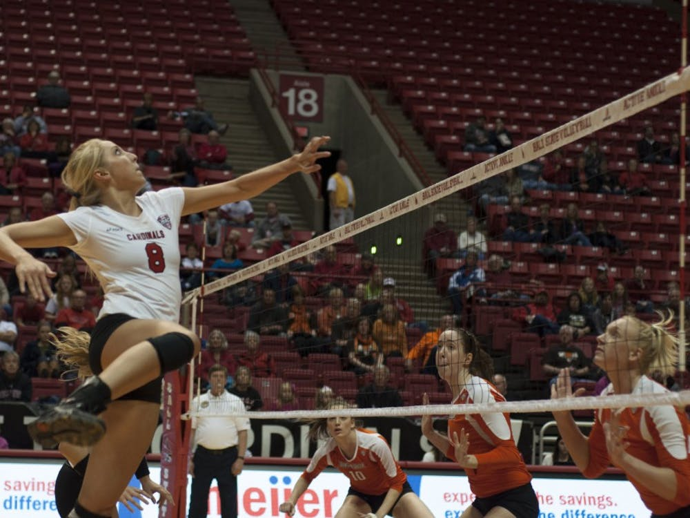 Senior middle hitter Mindy Marx prepares to hit the ball against Bowling Green State University on Oct. 25 at Worthen Arena. Marx had six kills in the match. DN PHOTO MATT McKINNEY