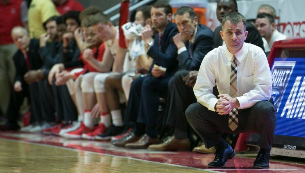 <p>Ball State head coach James Whitford watches his players on the court furing the game against Buffalo on Jan. 6 in John E. Worthen Arena. <strong>Kaiti Sullivan, DN</strong></p>