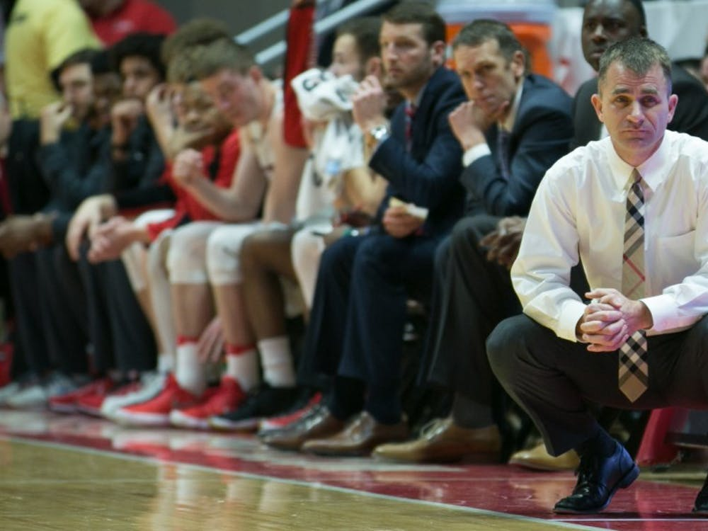 Ball State head coach James Whitford watches his players on the court furing the game against Buffalo on Jan. 6 in John E. Worthen Arena. Kaiti Sullivan, DN