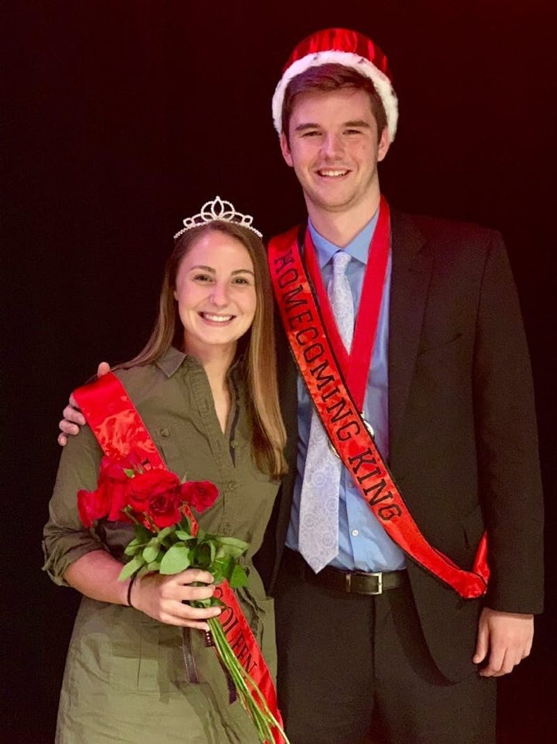 Dylan Barrow and Hanna Crane pose together after receiving their crowns at Talent Search Tuesday, Oct. 16, 2018. They will attend all Homecoming activities along with the other eight members of the court. Kelly Asiala, Photo Provided.