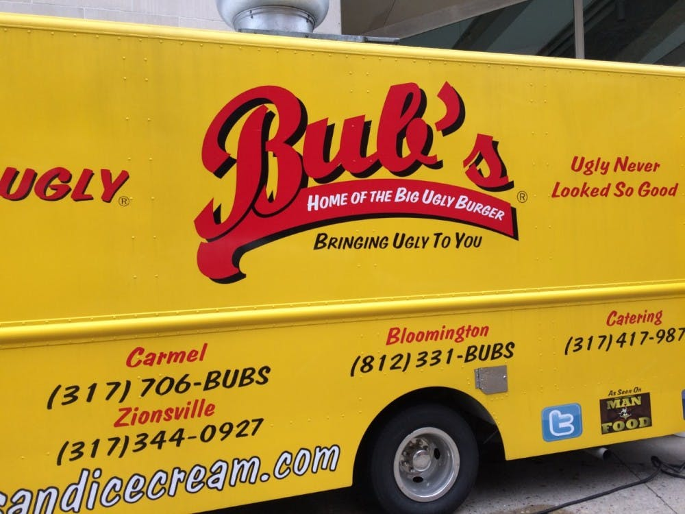Matt Frey, the founder and CEO of Bub's Burgers, visited Ball State on Jan. 26. Frey, spoke to a several hundred business students as well as served them all burgers out of the Bub's food truck. Robby General // DN