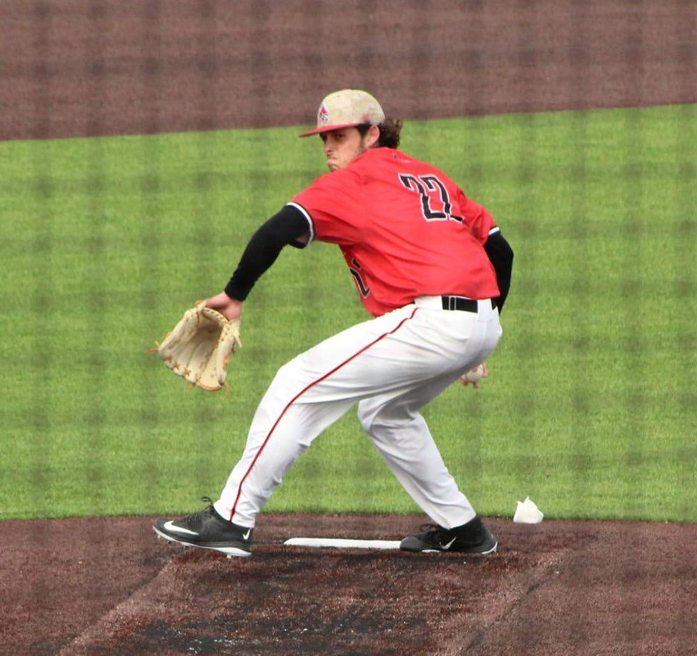 <p>Junior&nbsp;closer&nbsp;BJ Butler pitches against Western Michigan on April 10. Butler was named Mid-American Conference West Division Pitcher of the Week on April 18.</p>