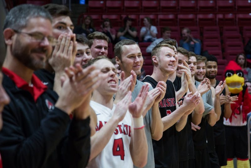 Ball State men's volleyball team cheers for their seniors on senior night before the Cardinals' game against Ohio State in April 7, 2019, in John E. Worthen . Eric Pritchett, DN