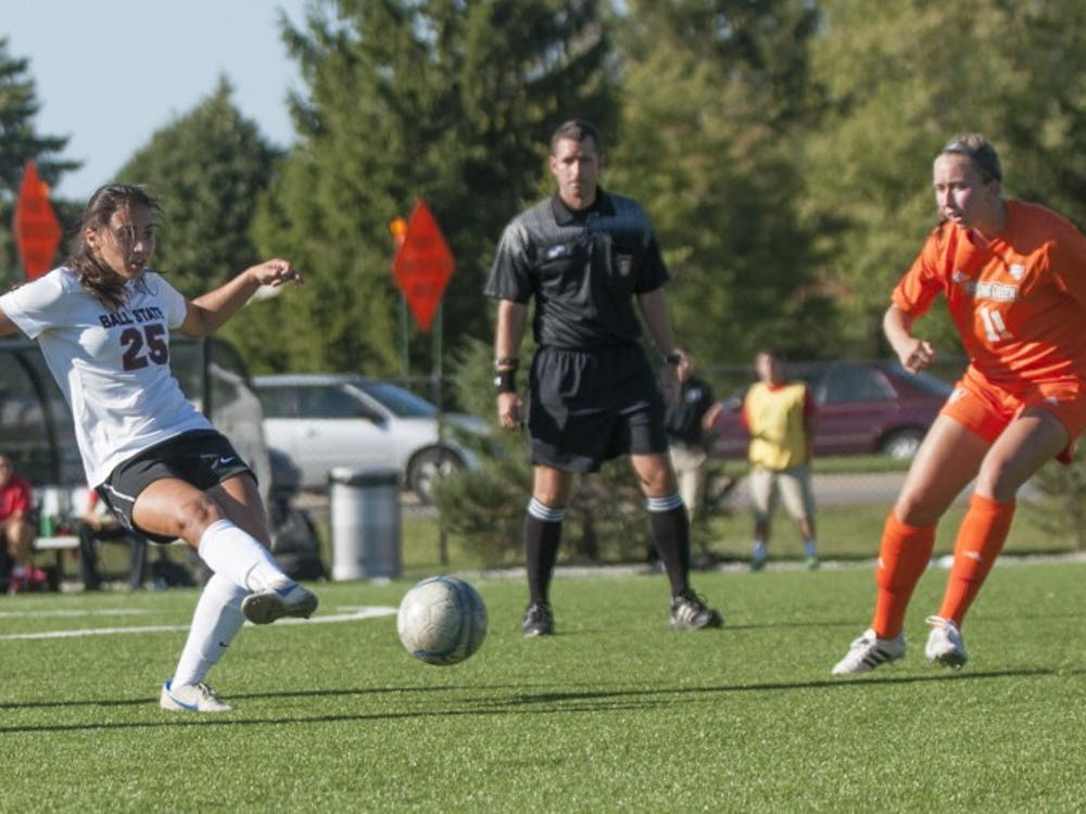 during the game against Bowling Green at the Briner Sports Complex on Sept. 26. DN PHOTO TAYLOR IRBY