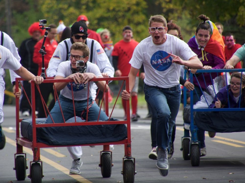 Homecoming Week's annual Bed Race down Riverside Avenue will start at 12 p.m. on Oct. 21. Bed Races have been a tradition since the 1980. Samantha Brammer // DN File