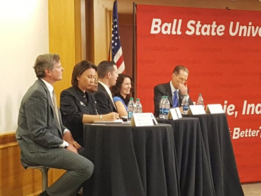 Speakers addressed concerns of the community about arts and culture at the second public forum held jointly by President Geoffrey S. Mearns and The Star Press Wednesday night. Sara Barker, DN
