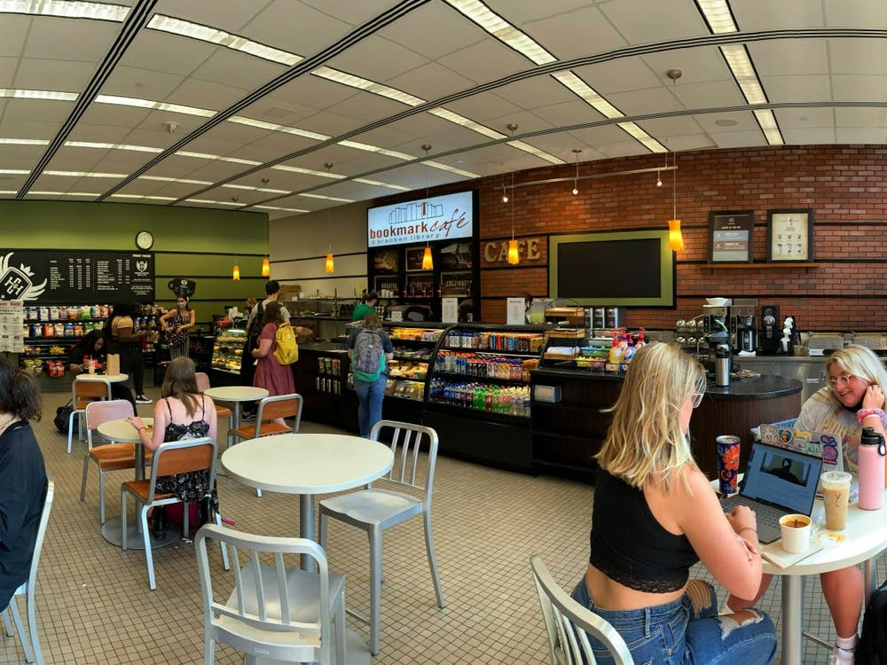 Bookmark Cafe invites students with scents of fresh coffee and baked goods, Aug. 24, 2021, in Bracken Library. Rylan Capper, DN