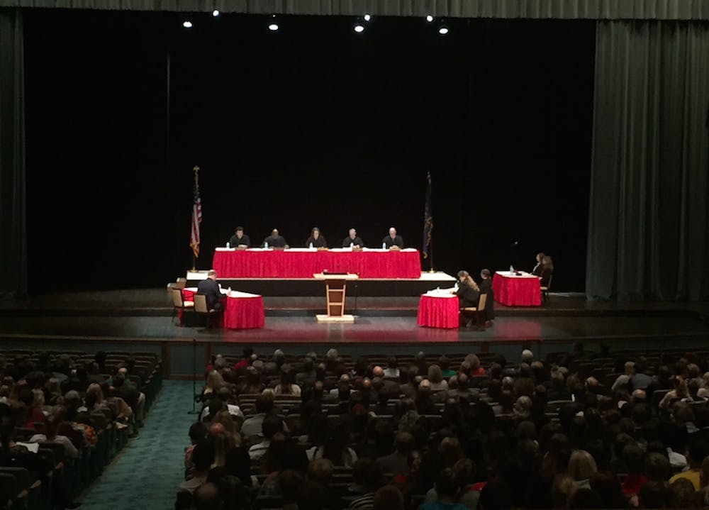 """<p>The Indiana Supreme Court held an oral argument on a case in John R. Emens Auditorium Oct. 27. This event was the 40th time the justices have heard a case outside of the Indiana Statehouse since 1994.&nbsp;<i style=""""font-size: 14px;"""">Max Lewis // DN</i></p>"""