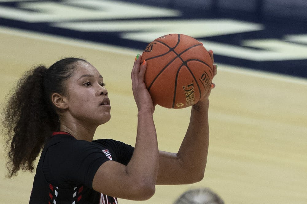 Cardinals senior forward Oshlynn Brown shoots a free throw during the second half of the Quarterfinal game of the Mid American Conference Tournament against Ohio University March 10, 2021, at Rocket Mortgage Fieldhouse in Cleveland, Ohio. The Cardinals fell to the Bobcats 61-59. Jacob Musselman, DN