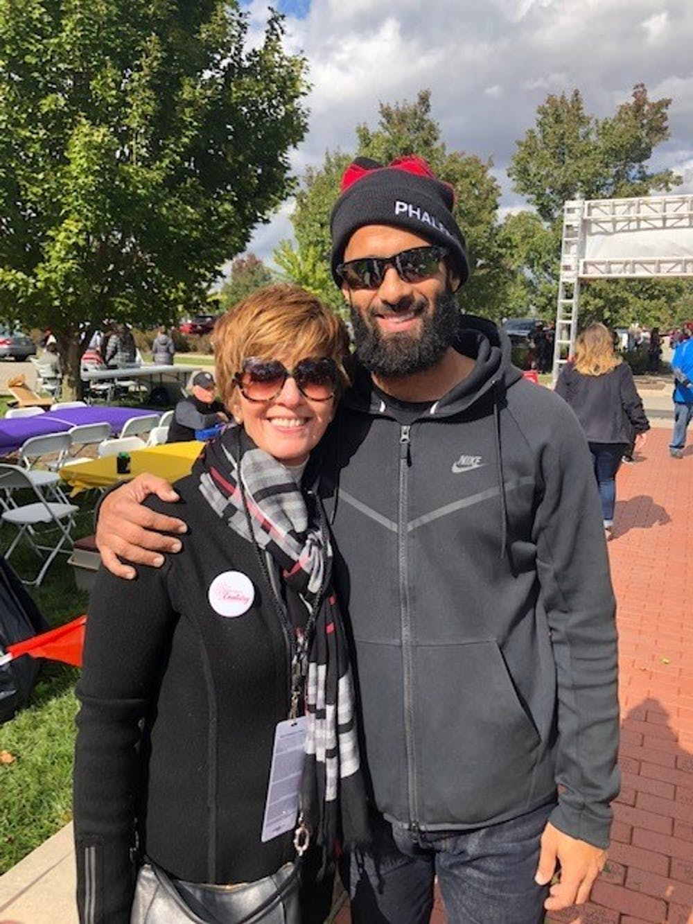 <p>: Renae Conley, chair for the Ball State Board of Trustees, takes a photo with her son Ali Conley. Renae also currently serves as CEO of ER Sollutions LLC. <strong>Ball State University, Photo Provided</strong></p>