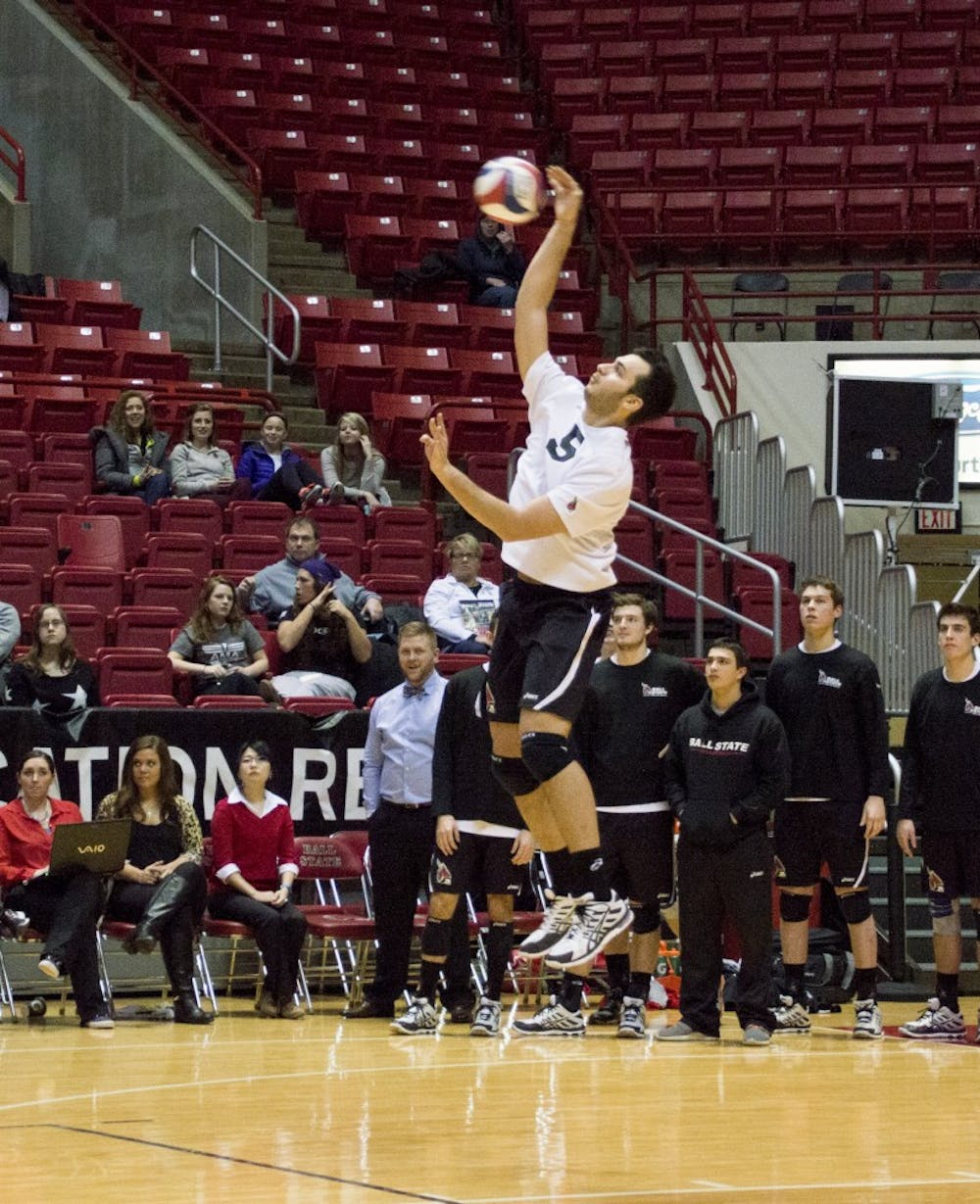 Sophomore outside attacker Edgardo Cartagena serves the ball during the game against Lewis on Feb. 12 at Worthen Arena. DN PHOTO ALAINA JAYE HALSEY