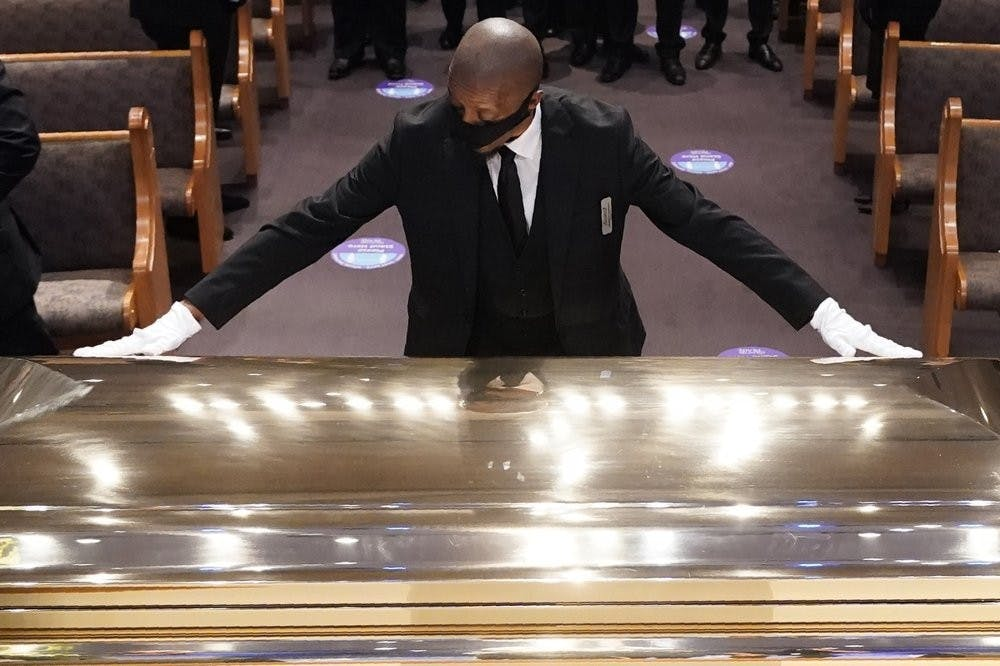 <p>The casket of George Floyd is placed in the chapel during a funeral service for Floyd at the Fountain of Praise church, June 9, 2020, in Houston. <strong>(AP Photo/David J. Phillip, Pool)</strong></p>