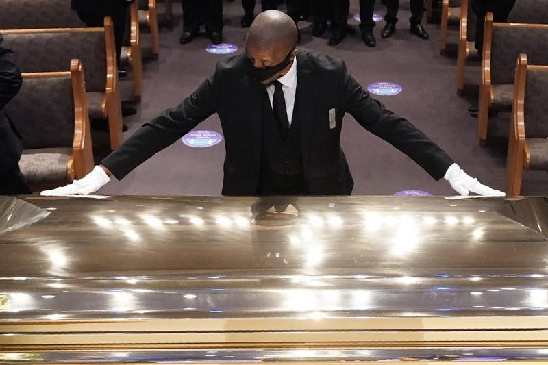 The casket of George Floyd is placed in the chapel during a funeral service for Floyd at the Fountain of Praise church, June 9, 2020, in Houston. (AP Photo/David J. Phillip, Pool)