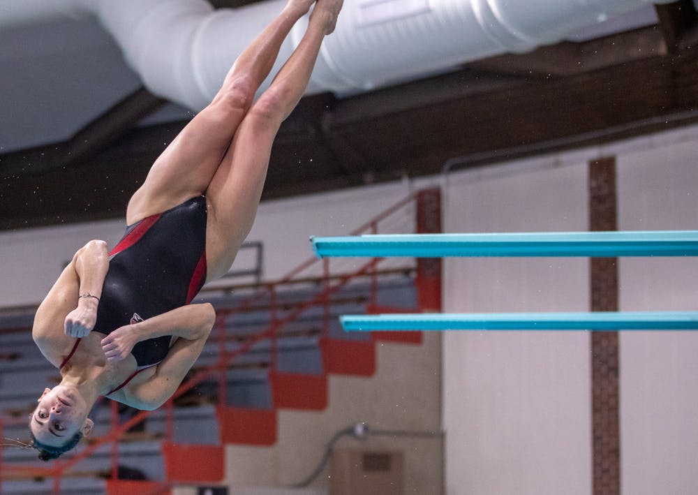 <p>Junior Caitlin Locante dives against Toledo Jan. 16, 2020, at Lewellen Acquatics Center. Locante earned her first letter at Ball State in the 2017-18 school year. <strong>Jacob Musselman, DN</strong></p>