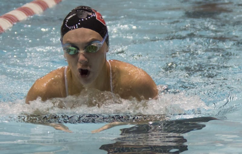 Ball State's women's swim and dive team will compete against MAC opponent Miami University Dec. 1 to 3. The Cardinals won against Grand Valley State 151-149 last weekend, making the team's record 2-3 and 0-2 in conference. Terence K. Lightning Jr. // DN File