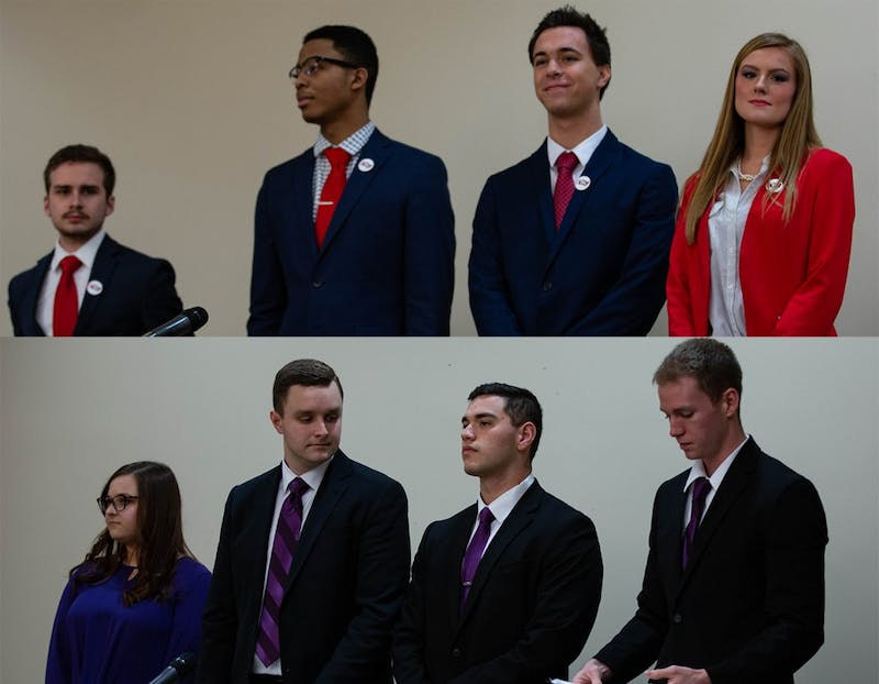 (Top to bottom) 2019 Student Government Association (SGA) candidates from Empower and Elevate stand before the All-Slate Debate Feb. 18, 2019 in the L.A. Pittenger Student Center ballroom. Both slates could face fines for copyright violations. Scott Fleener, DN
