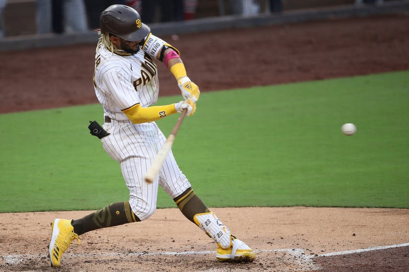 Fernando Tatis Jr. of the San Diego Padres hits a double against the St. Louis Cardinals during the fifth inning of Game Three of the National League Wild Card Series on Oct. 2, 2020, at PETCO Park in San Diego, California. TNS Photo Courtesy