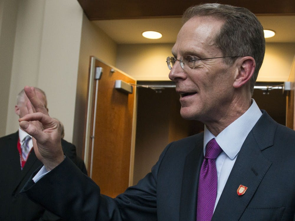 "Geoffrey S. Mearns shows to a group of students that he knows how to ""chirp"" after being announced the 17th president of Ball State. Mearns was announced the next president on Jan. 24 in Sursa Hall and will officially start on August 1. Breanna Daugherty // DN"