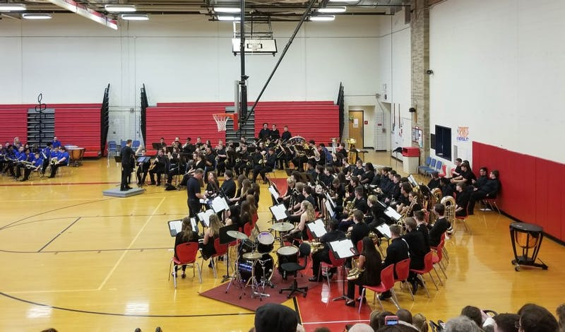 Muncie Central Wind Ensemble plays musical sets during the 2019 Band-O-Rama May 14, 2019, at Southside Middle School. The event had bands from five different schools within the MCS. Megan Boeck, DN