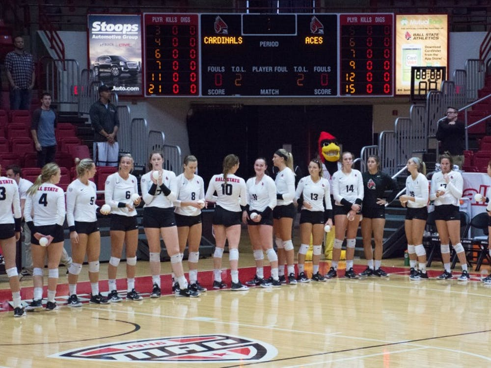 Ball State women's volleyball defeats Evansville on Sept. 14 in John E. Worthen Arena. The Cardinals beat the Aces 3-0.