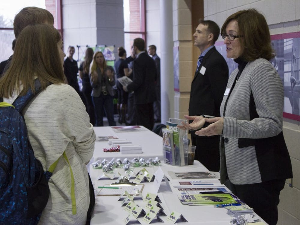 The Cardinal Job Fair took place on Feb. 11 at Worthen Arena. Students had the chance totalk with perspective employers.