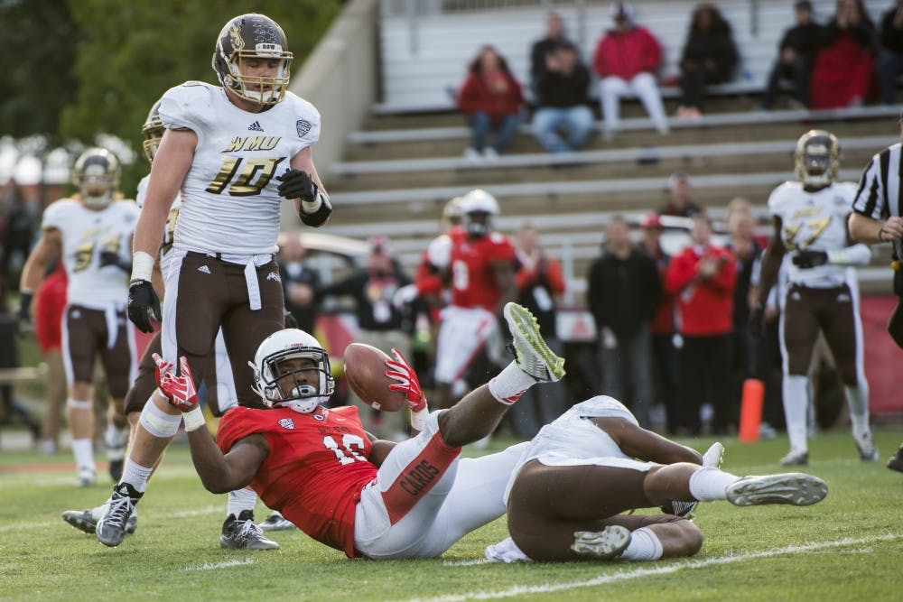 Junior wide receiver KeVonn Mabon makes the catch during the game against Western Michigan at Scheumann Stadium on Oct. 12. DN PHOTO JONATHAN MIKSANEK