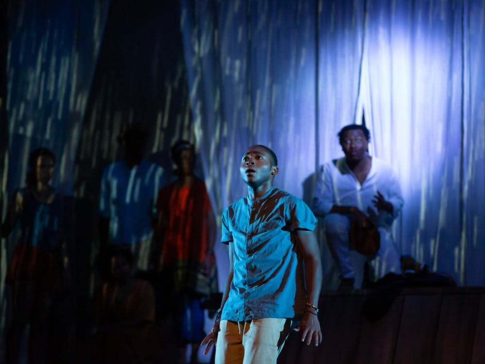 """Ogunde Snelling, a junior acting major, performs as Marcus during a rehearsal of """"Marcus; Or the Secret of Sweet"""" Sept. 18 at University Theatre. The show will debut 7:30 p.m. Sept. 20 in University Theatre. Kyle Crawford, Byte"""