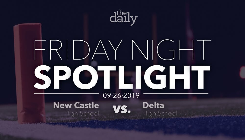 <p>Delta defeated New Castle Friday, Sept. 27, 2019, by a score of 42-0. The Eagles scored six touchdowns as their passing game led the offense. <strong>Emily Wright, DN Graphic</strong></p>
